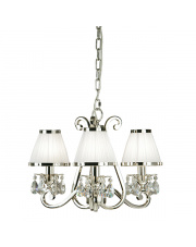 Oksana nickel 3lt pendant & white shades 40W