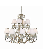 Oksana nickel 12lt pendant & white shades 40W