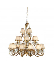 Oksana antique brass 21lt pendant & beige shades 40W