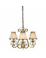 Oksana antique brass 3lt pendant & beige shades 40W