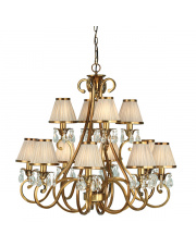 Oksana antique brass 12lt pendant & beige shades 40W