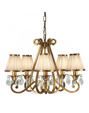 Oksana antique brass 5lt pendant & beige shades 40W