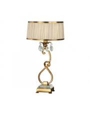 Oksana antique brass medium table & beige shade 40W