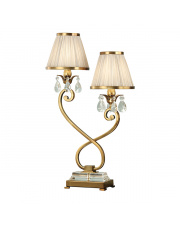 Oksana antique brass twin table & beige shades 40W