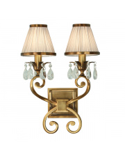 Oksana antique brass twin wall & beige shades 40W